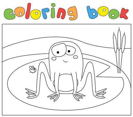 Funny cartoon frog and fly. Coloring book for kids. Digital illustration