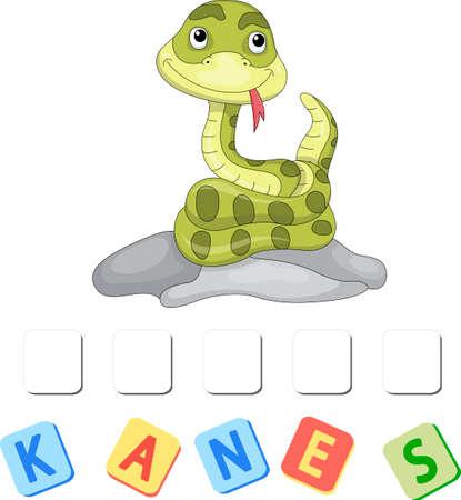 Cartoon snake crossword. Order the letters