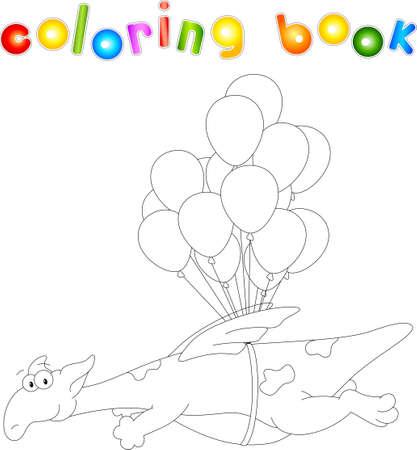 Dragon flies on balloons. Coloring book for kids. Digital illustration 일러스트