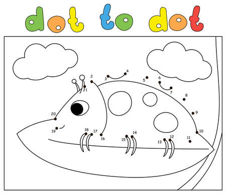 Cartoon ladybug sitting on a leaf high in the clouds. Dot to dot educational game for kids
