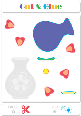 Use scissors and glue and sticker picture for sample. Easy educational paper game for kids. Cartoon violet vase with a red flower 일러스트