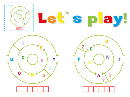 Play and write the words monkey and parrot. Find a way out of the maze and make words out of letters 일러스트