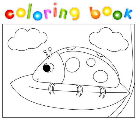 Cartoon ladybug sitting on a leaf high in the clouds. Coloring book for kids. Digital illustration
