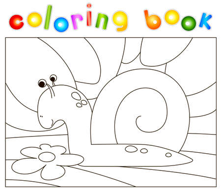 Cartoon snail crawling on the grass. Coloring book for kids. Digital illustration