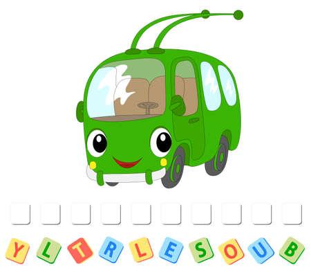 Cartoon trolleybus crossword. Order the letters