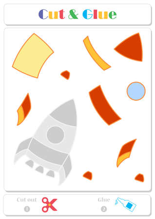 Use scissors and glue and sticker picture for sample. Easy educational paper game for kids. Colorful rocket 일러스트