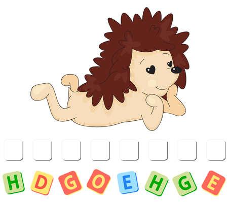 Cartoon hedgehog in love crossword. Order the letters 일러스트