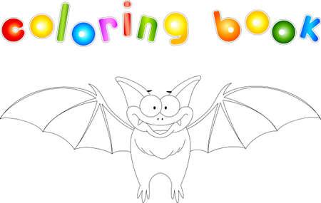 Funny bat. Coloring book for kids. Digital illustration