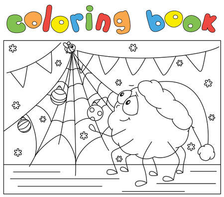 Cute spider and his friend fly decorate a Christmas tree. Coloring book for kids. Digital illustration