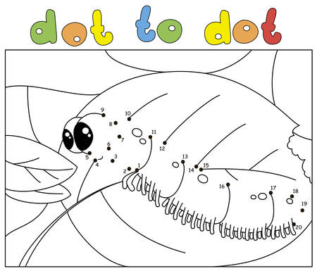 Funny caterpillar wants to eat a fresh leaf. Dot to dot educational game for kids