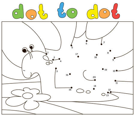 Cartoon snail on the nature background. Dot to dot educational game for kids Illustration