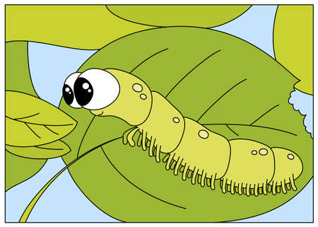 Funny caterpillar wants to eat a fresh leaf. Digital illustration