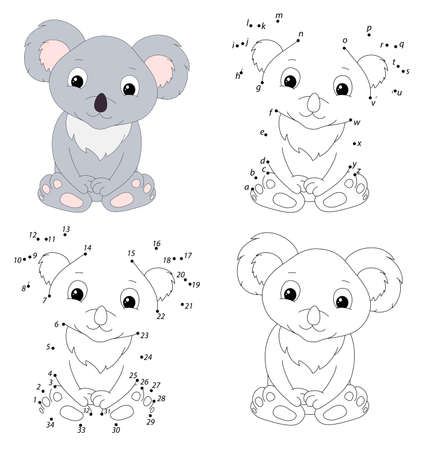 Cartoon koala. Coloring book and dot to dot educational game for kids