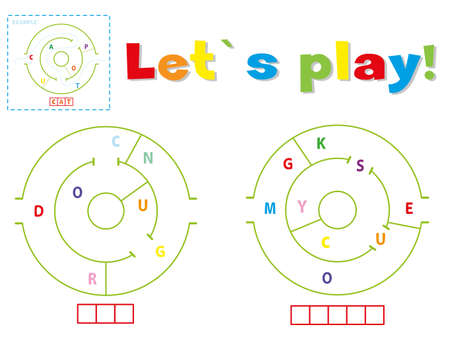 Play and write the words dog and mouse. Find a way out of the maze and make words out of letters 일러스트