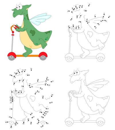 A happy green dragon is riding a scooter. Coloring book and dot to dot educational game for kids