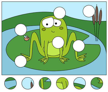 Cartoon embarrassed frog and fly. Complete the puzzle and find the missing parts of the picture. Educational game for kids