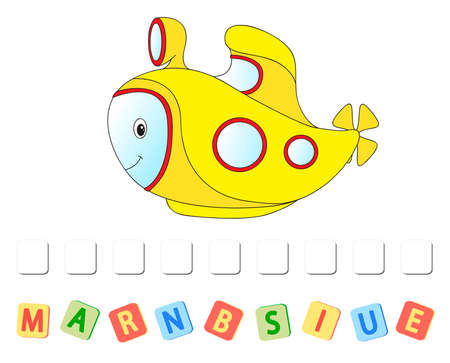 Cartoon submarine crossword. Order the letters Stok Fotoğraf - 127289731