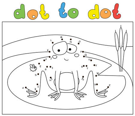 Funny cartoon frog and fly. Coloring book and dot to dot educational game for kids