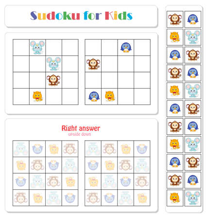 Sudoku for kids with funny cartoon animals. Game for preschool kids, training logic
