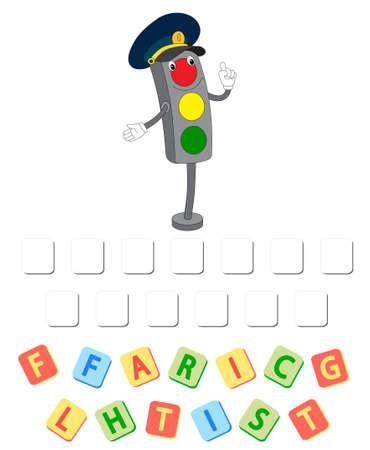 Cartoon traffic lights crossword. Order the letters 일러스트