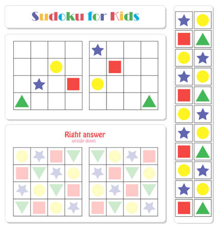 Sudoku for kids with colorful geometric figures. Game for preschool kids, training logic Banque d'images - 117021784