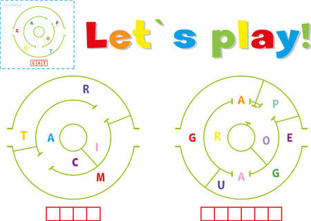 Play and write the words tram and garage. Find a way out of the maze and make words out of letters