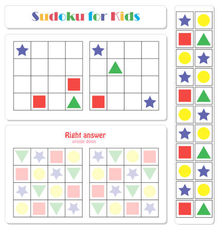 Sudoku for kids with colorful geometric figures. Game for preschool kids, training logic Banque d'images - 117021786