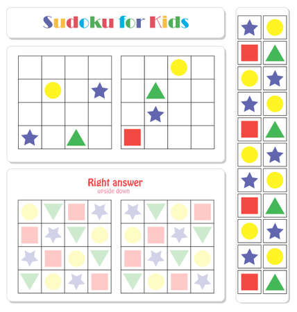 Sudoku for kids with colorful geometric figures. Game for preschool kids, training logic Banque d'images - 117021897