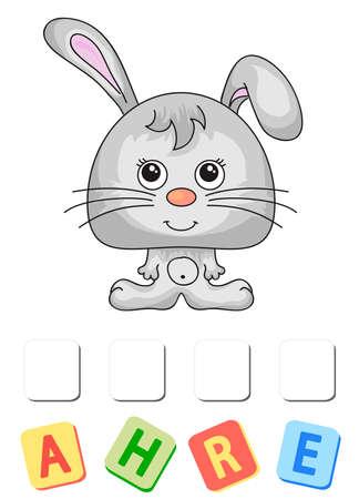 Cartoon hare crossword. Order the letters Ilustração
