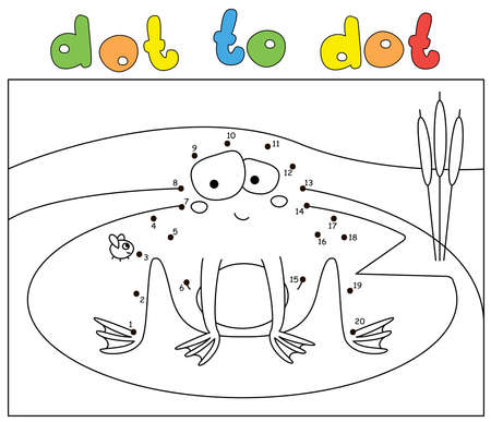 Cartoon embarrassed frog and fly. Dot to dot educational game for kids