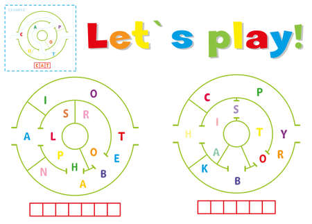 Play and write the words alphabet and history. Find a way out of the maze and make words out of letters 일러스트