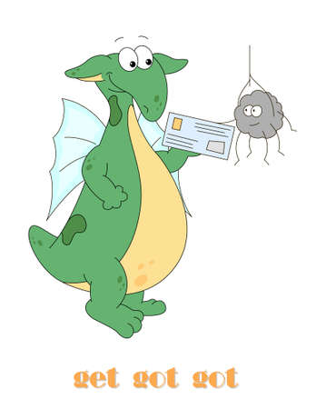 Irregular english verb to get with funny dragon. Grammar cards for students