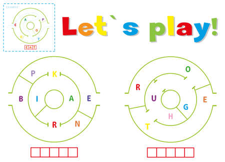 Play and write the words brake and route. Find a way out of the maze and make words out of letters Illustration