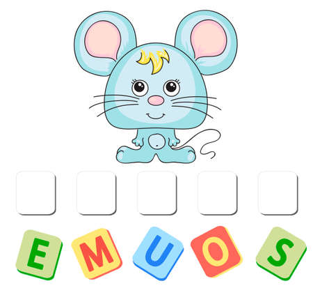 Cartoon mouse crossword. Order the letters Stock Illustratie