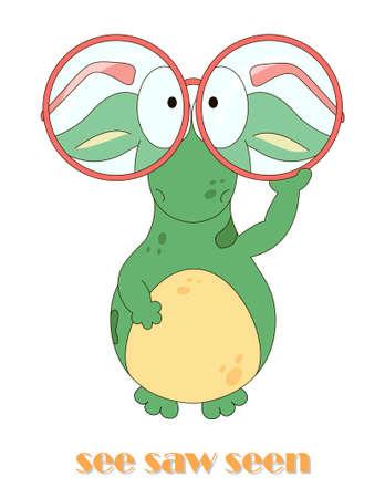 Verbo inglese irregolare da vedere con il drago divertente. Schede grammaticali per studenti Vettoriali