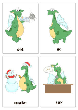 Irregular english verbs get, go, make and say with funny dragon. Grammar cards for students Illustration