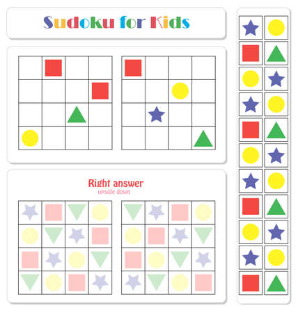 Sudoku for kids with colorful geometric figures. Game for preschool kids, training logic