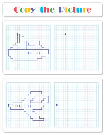Copy the graphic picture. Draw steamer and aircraft with lines. Worksheet for kids