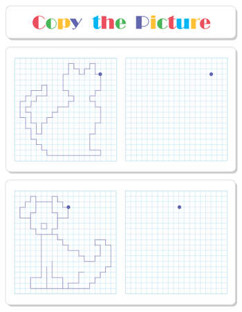 Copy the graphic picture. Draw cat and dog with lines. Worksheet for kids