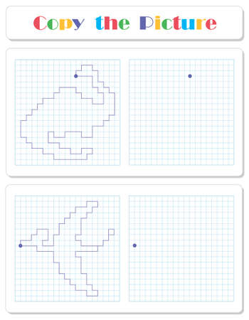 Copy the graphic picture. Draw dinosaurs with lines. Worksheet for kids Illustration