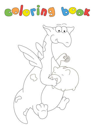 Cartoon green dragon puts a coin in the piggy bank. Coloring book for kids. Digital illustration 일러스트