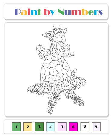 Cartoon green dragon ballerina dancing in a pink tutu. Color by number educational game for kids. Illustration for schoolchild and preschool