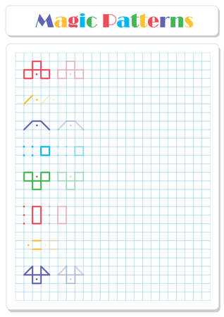 Continue the pattern with crayons or felt-tip pens. Worksheet for preschoolers and primary school children