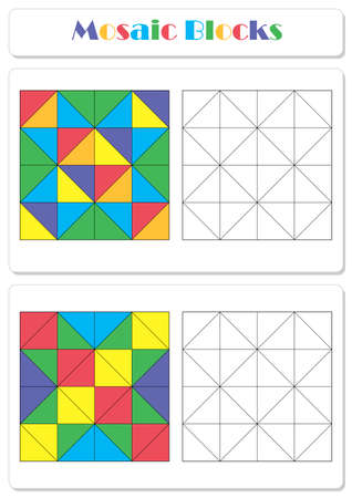 Collect the correct sequence of elements. Triangle mosaic blocks 일러스트