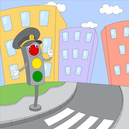 Cartoon traffic lights on the city road. Digital illustration
