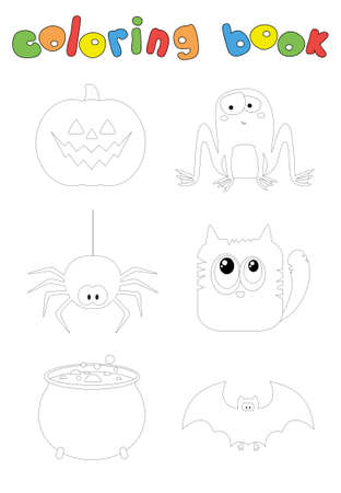 Cartoon spider, bat, pumpkin, cat, toad and pot with potion. Coloring book for Halloween. Digital illustration