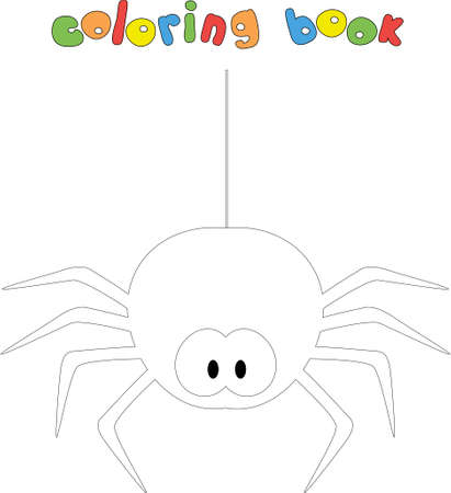 Funny cartoon spider. Coloring book for kids. Digital illustration