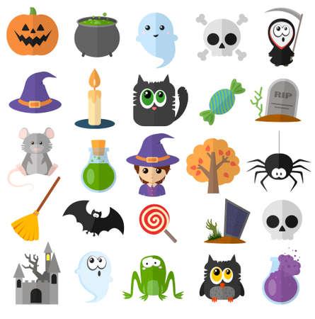 Big set of vector flat cartoon icons for halloween. Good kind characters. Digital illustration