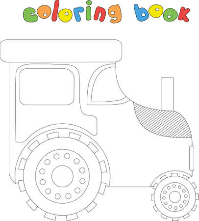 Cartoon farm tractor. Coloring book for kids. Digital illustration