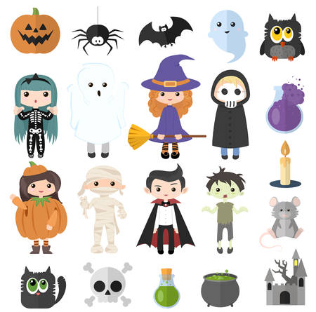 Halloween set of flat icons. Skeleton, witch, zombie, death, ghost, mummy, pumpkin and vampire. Black cat, pumpkin, spider, bat, ghost, castle